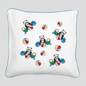 Beach Pandas with Beach Balls Square Canvas Pillow