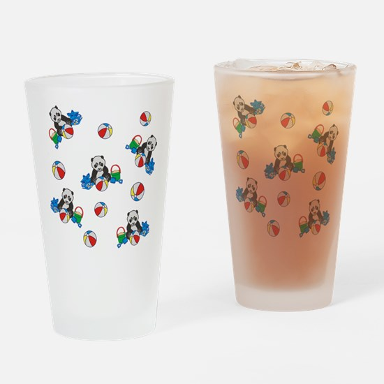 Beach Pandas with Beach Balls Drinking Glass