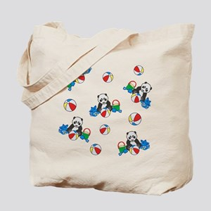 Beach Pandas with Beach Balls Tote Bag