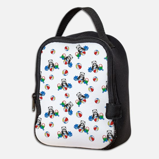 Beach Pandas with Beach Balls Neoprene Lunch Bag