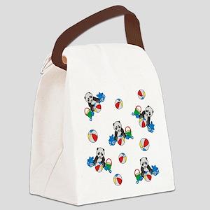 Beach Pandas with Beach Balls Canvas Lunch Bag