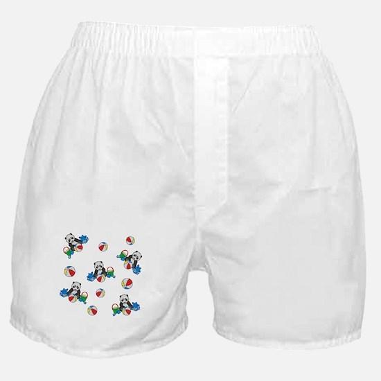 Beach Pandas with Beach Balls Boxer Shorts
