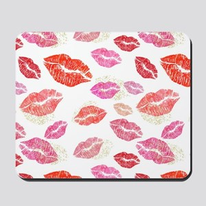Pink & Red Lips with Gold Mousepad