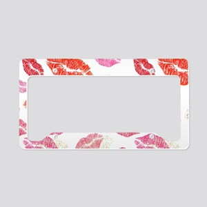 Pink & Red Lips with Gold License Plate Holder
