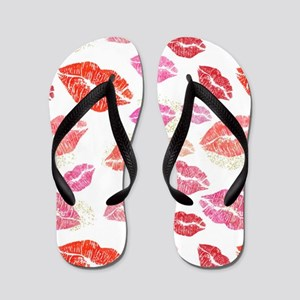 Pink & Red Lips with Gold Flip Flops