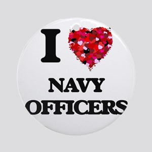 I love Navy Officers Ornament (Round)