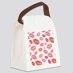 Pink & Red Lips with Gold Canvas Lunch Bag
