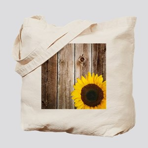 Rustic Barn Wood Sunflower Tote Bag