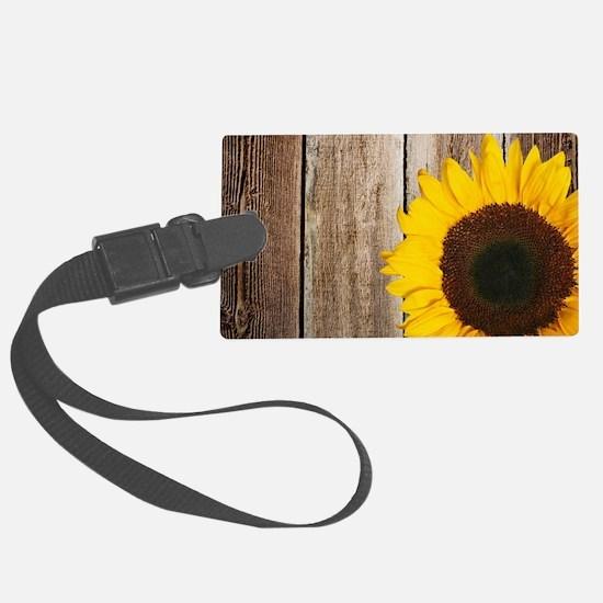 Rustic Barn Wood Sunflower Luggage Tag