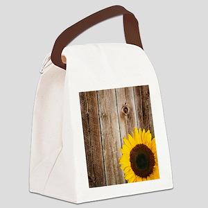 Rustic Barn Wood Sunflower Canvas Lunch Bag