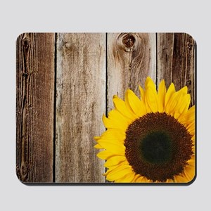 Rustic Barn Wood Sunflower Mousepad