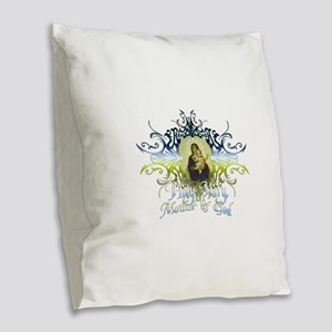 HolyMary Burlap Throw Pillow