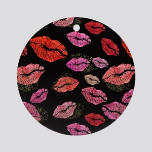 Pink & Red Lips on Black Round Ornament