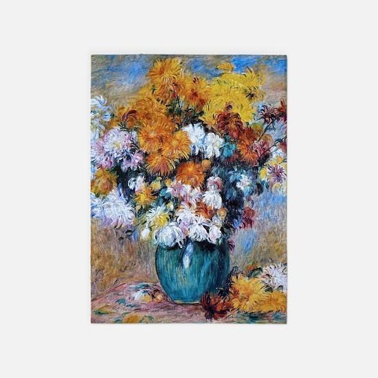 Renoir Chrysanthemums 5'x7'Area Rug