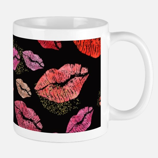 Pink & Red Lips on Black Mugs