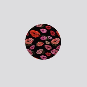 Pink & Red Lips on Black Mini Button (10 pack)