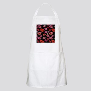 Pink & Red Lips on Black Light Apron