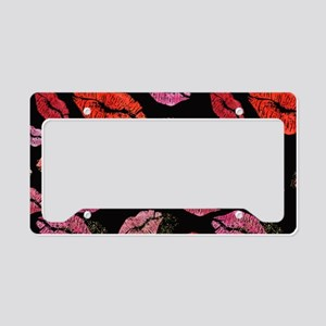 Pink & Red Lips on Black License Plate Holder