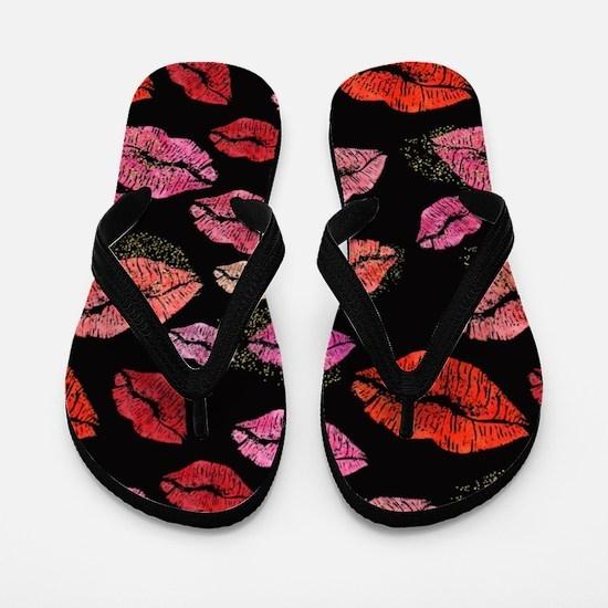 Pink & Red Lips on Black Flip Flops