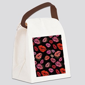 Pink & Red Lips on Black Canvas Lunch Bag