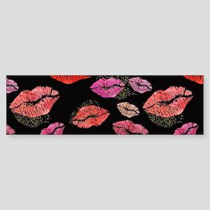 Pink & Red Lips on Black Bumper Sticker