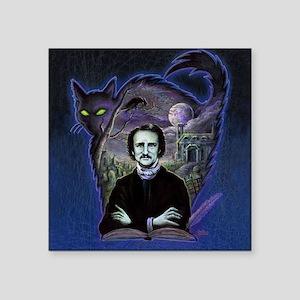 "Edgar Allan Poe Black Cat Square Sticker 3"" x 3"""