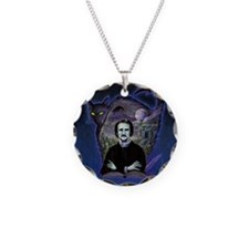 Edgar Allan Poe Black Cat Necklace Circle Charm