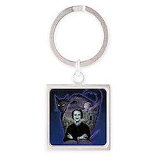 Edgar Allan Poe Black Cat Square Keychain