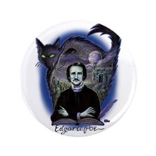 Edgar Allan Poe Black Cat Button