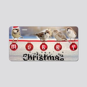 Little Christmas sparrows Aluminum License Plate