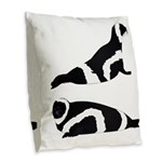 Ribbon Seal Burlap Throw Pillow