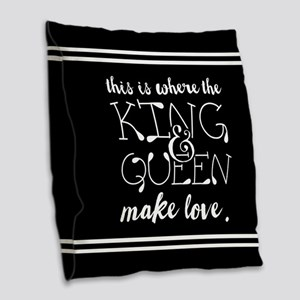 Fun King and Queen Mr. & Mrs. Burlap Throw Pillow
