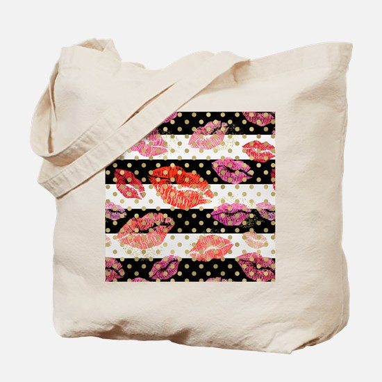 Horizontal Stripes & Watercolor Lips Tote Bag