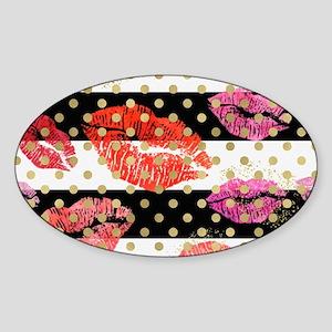 Horizontal Stripes & Watercolor Lips Sticker