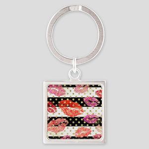 Horizontal Stripes & Watercolor Lips Keychains