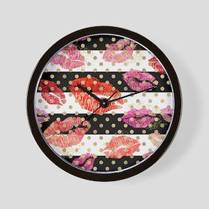 Horizontal Stripes & Watercolor Lip Wall Clock