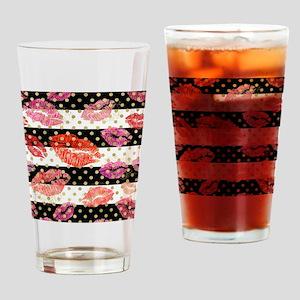 Horizontal Stripes & Watercolor Drinking Glass