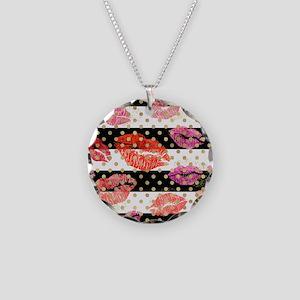 Horizontal Stripes & Wat Necklace Circle Charm