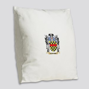 Clifford Coat of Arms - Family Burlap Throw Pillow