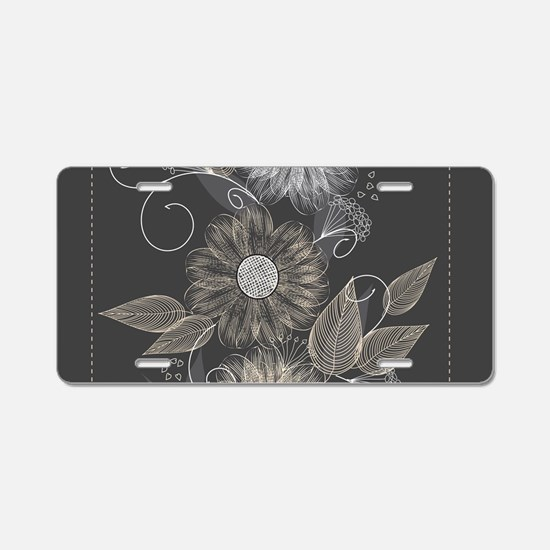 Elegant Floral Aluminum License Plate