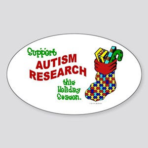 Autism Christmas Stocking 1 Oval Sticker