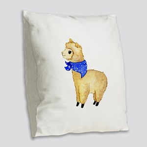 Cute Watercolor Alpaca with Ba Burlap Throw Pillow