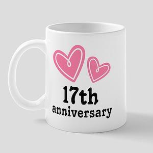 17th Anniversary Hearts Mug