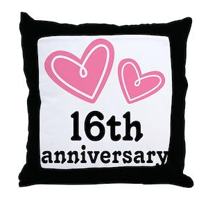 16th wedding anniversary pillows cafepress