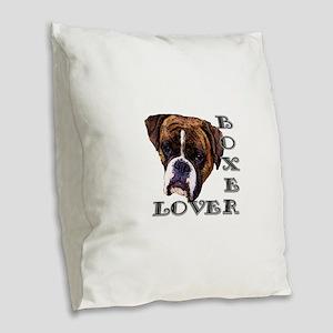 Boxer Lover Burlap Throw Pillow