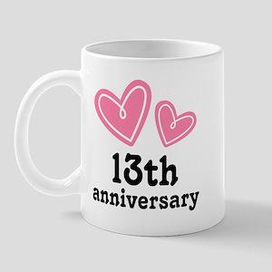 13th Anniversary Hearts Mug
