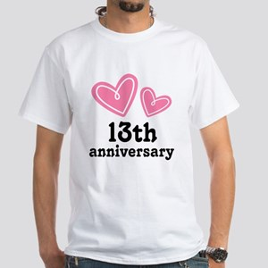 13th Anniversary Hearts White T-Shirt