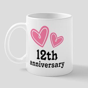 12th Anniversary Hearts Mug