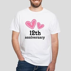12th Anniversary Hearts White T-Shirt