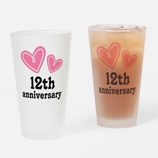12th Anniversary Hearts Drinking Glass